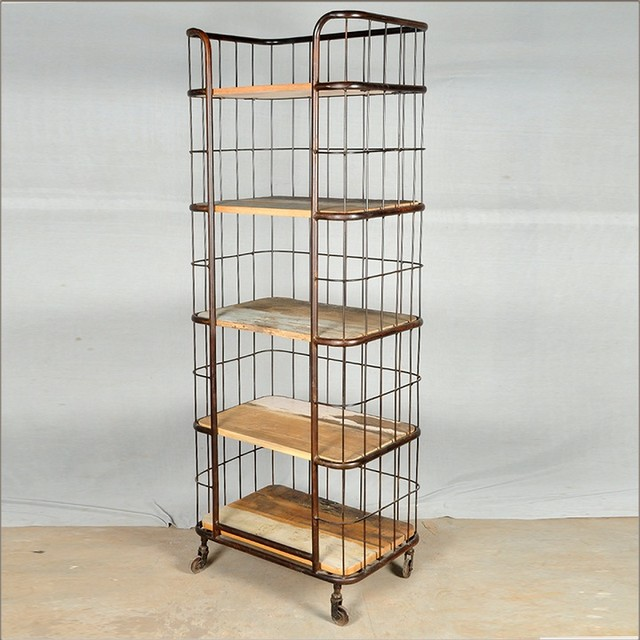 Industrial Parisian Reclaimed Wood & Iron Rolling Storage Baker's Rack - Eclectic - Kitchen ...