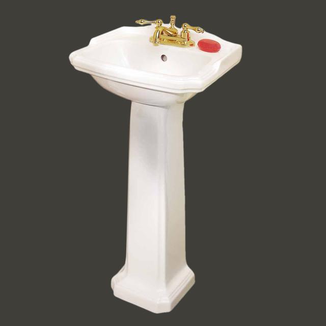 Pedestal Sinks White China Cloakroom Space-saving Pedestal Sink | 19355 - Transitional ...