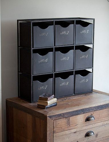 Nine Drawer Industrial Cabinet eclectic-storage-bins-and-boxes