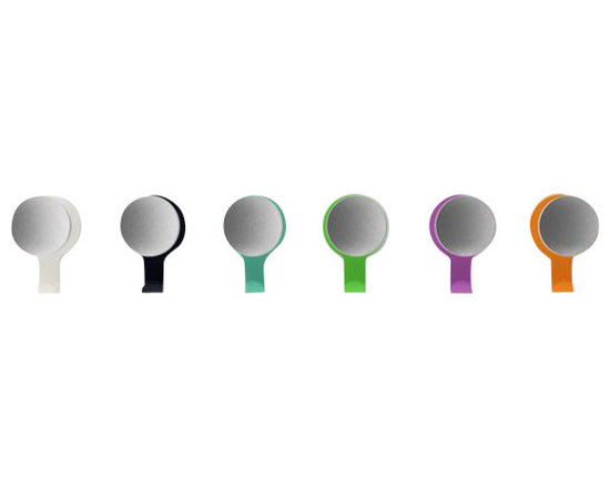 Very Good & Proper - Canteen Hook and Knob - Anthracite Grey | RAL 7016 - A straight-forward, beautiful and clever coat hook designed for busy, great British food chain, Canteen. Naked, its large, round, turned and anodized aluminium knobs attracts attention. Fully clothed, its powder-coated steel backplate and hook protect walls from dirt and scratches, covering any fixing marks and doubling hanging capacity. Available in six colors: grey white, jet black, mint turquoise, telemagenta, melon yellow, yellow green. Custom colors available on request. Suitable for residential and commercial use.