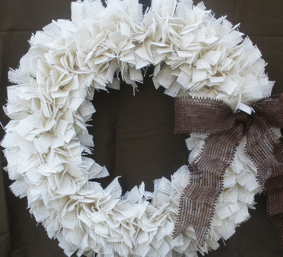 Burlap Christmas Wreath, White/Brown by The Slanted Barn contemporary holiday outdoor decorations