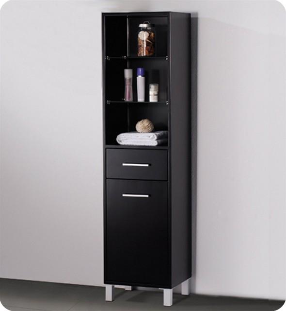 espresso bathroom linen side cabinet w 3 open shelves modern medicine