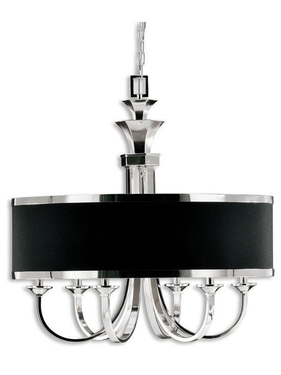 Tuxedo Chandelier - 6 Light Single Shade Chandelier by Uttermost - Tuxedo 6 light chandelier features a single silver plated metal with black hardback shade.