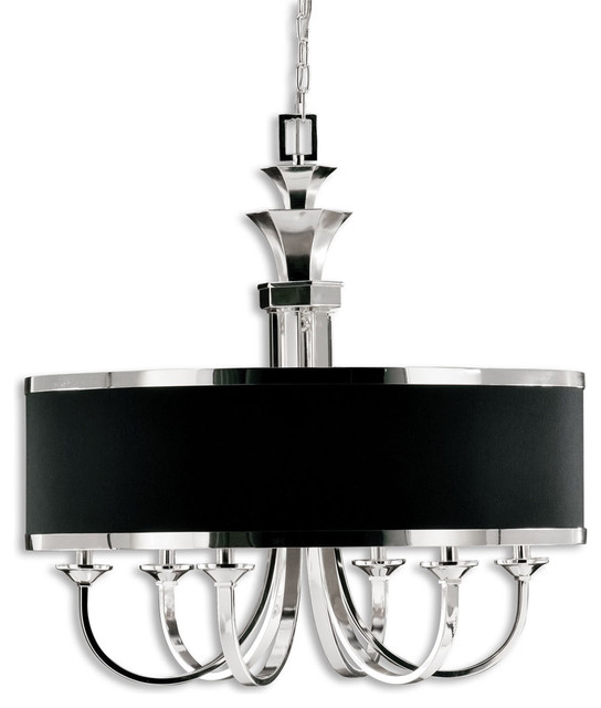 Tuxedo Chandelier - 6 Light Single Shade Chandelier by Uttermost contemporary-chandeliers