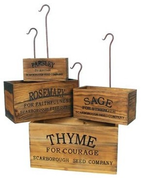 Vintage-style Nesting Herb Crates traditional-spice-jars-and-spice-racks