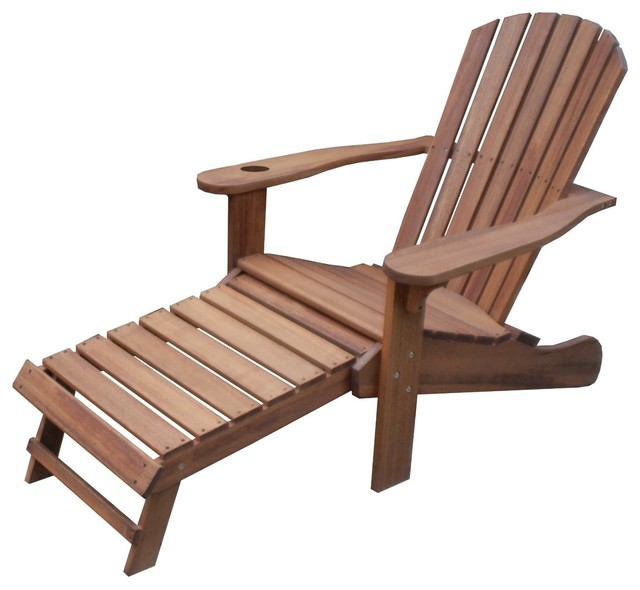 Eucalyptus adirondack chair with drink holder and built in for Chaise eucalyptus