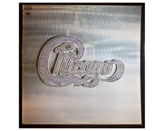 "Glittered Chicago Album - Glittered record album. Album is framed in a black 12x12"" square frame with front and back cover and clips holding the record in place on the back. Album covers are original vintage covers."