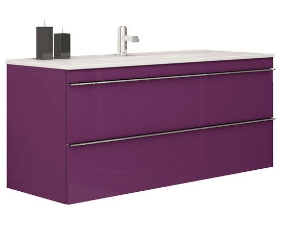 "Macral Aries 40"" modern vanity bathroom. Rasperry. - Macral Aries 40"" wall-mounted vanity bathroom, 2 drawers w/soft close. Aubergine gloss."