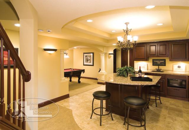 Basement Bar & Pool Table traditional-basement