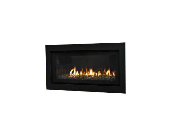 Empire - IP Boulevard Contemporary Linear Direct-Vent Fireplace - Natural Gas - The Contemporary features a linear burner, halogen lighting mounted beneath the burner, and a black porcelain liner. The rich liner reflects the flames and the lighting. Decorative ceramic glass panels, available as an accessory, add visual interest to the fireplace interior and complement the flames. Use the remote control to raise or lower the lighting levels and the panels glow red along their edges.