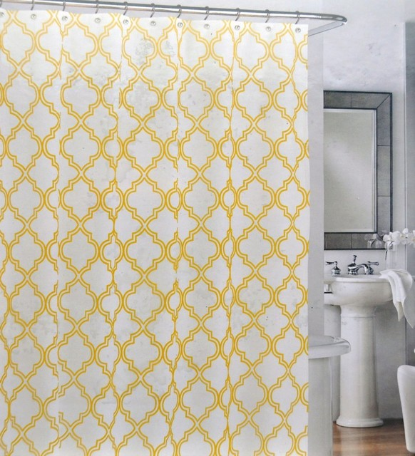 Yellow Quatrefoil Trellis Lattice Shower Curtains