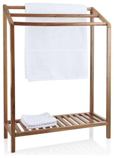 Acacia Wood Towel Rack - Contemporary - Towel Racks & Stands - by hsw.com.au
