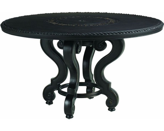 Lexington - Tommy Bahama Kingstown Sedona Dining Table Base For 54 Inch - The shapely legs of the table base are trimmed in raised lines which catch the gold highlights beautifully. The base is open yet strong ensuring proper support for the cast, stone, or weather stone tops and allowing the umbrella base to sit easily beneath.
