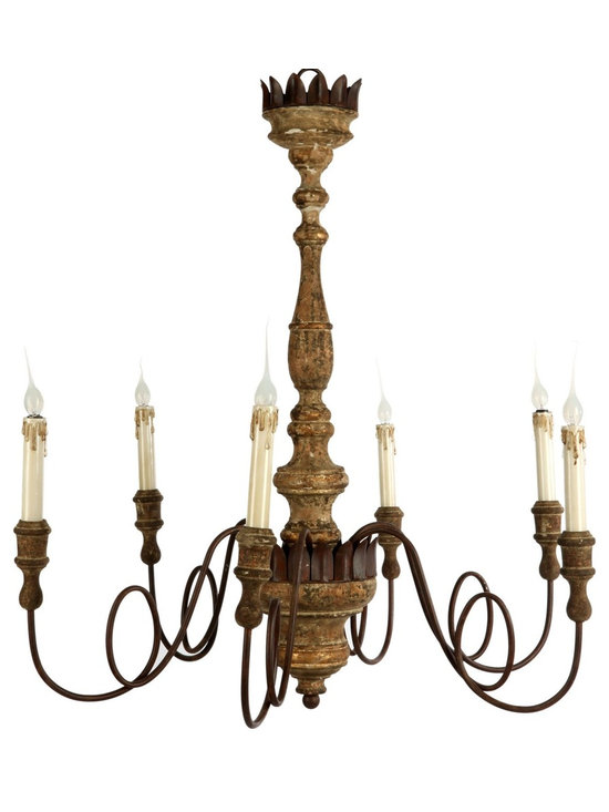 "Aidan Gray Wallace Chandelier - Six curled iron arms create a unique look for the Wallace Chandelier with a 36"" tall Rustic Gold base. Arms are adjustable to align into desired position."