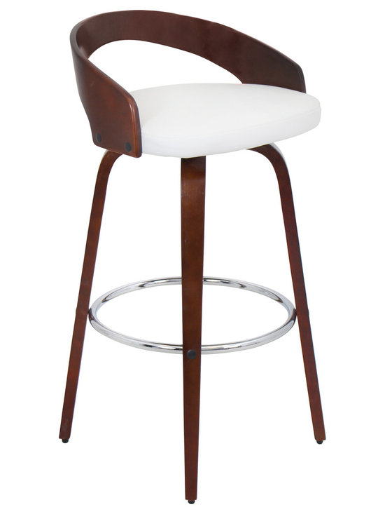 "Lumisource - Grotto Barstool Cherry + White - 17""L x 19""W x 35.5""H"