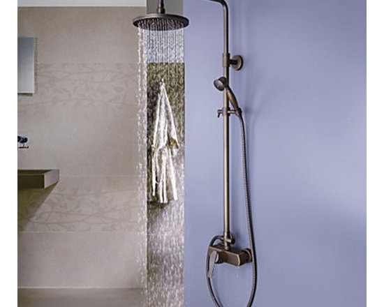 Shower Faucets - Antique Brass Tub Shower Faucet with 8 inch Shower Head and Hand Shower--FaucetSuperDeal.com