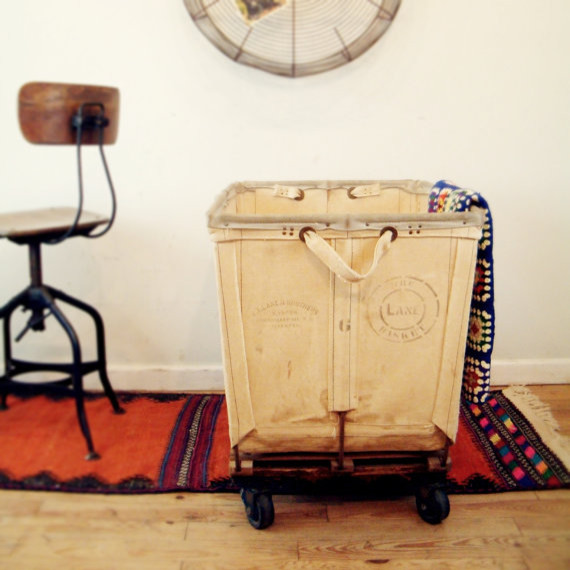 Circa 1940 Vintage Industrial Laundry Cart by Go Seek  storage and organization