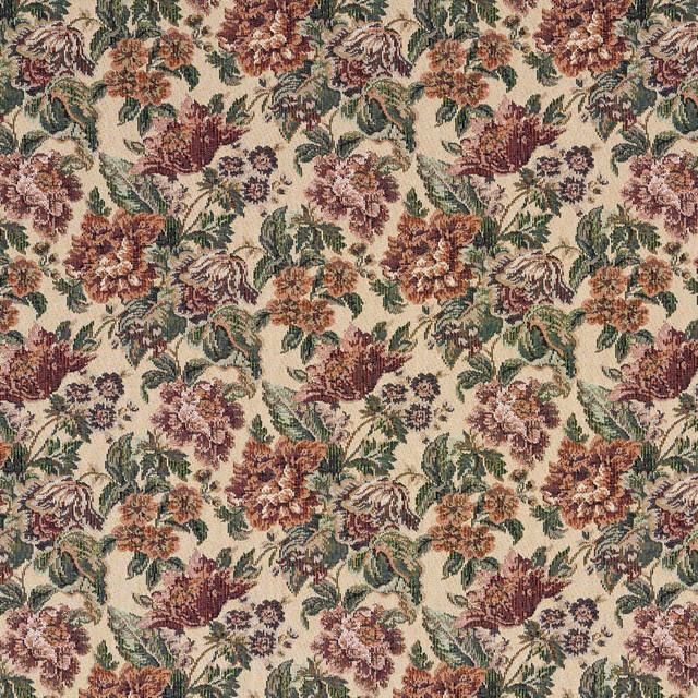 Burgundy Green And Orange Floral Tapestry Upholstery