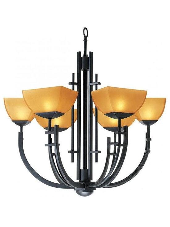 Access Lighting 26126-ABRZ/AMB Six Light Bronze Up Chandelier -