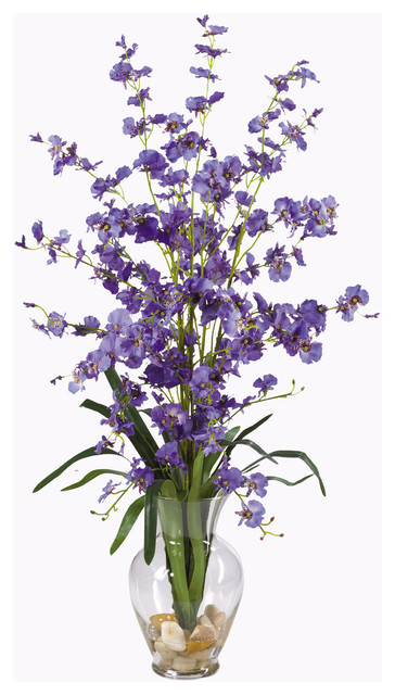 Nearly Natural Dancing Lady Liquid Illusion Silk Flower Arrangement in Purple traditional-artificial-flowers