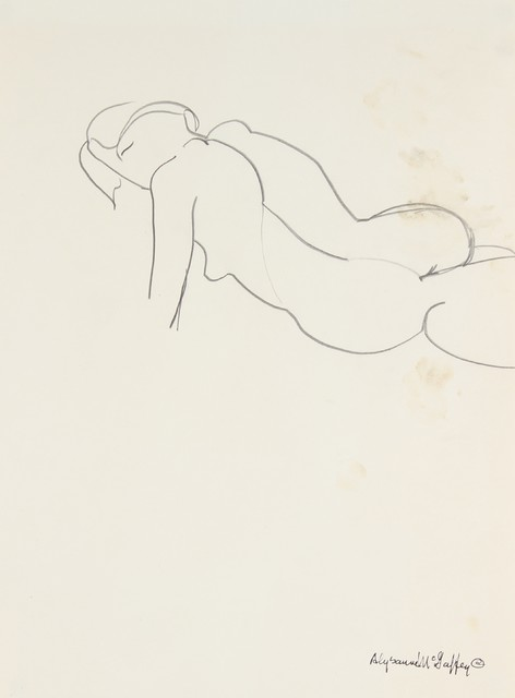 1950-60s Charcoal Figure In Repose by Alysanne McGaffey modern-originals-and-limited-editions