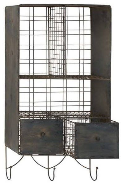 Metal Wall Shelf with Columns and Hooks transitional-display-and-wall-shelves