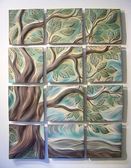Sculptural wall tiles tree of life design residential for Clay mural making