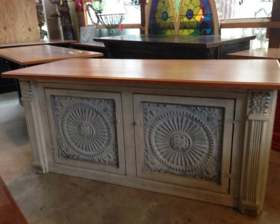 Antique Tin Furniture - An antique piece of furniture enhanced with American Tin Ceiling tiles.