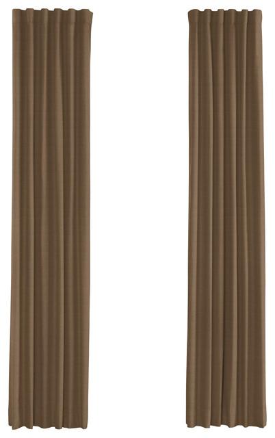 Dark Beige Lightweight Linen Custom Drapery Single Panel contemporary-curtains
