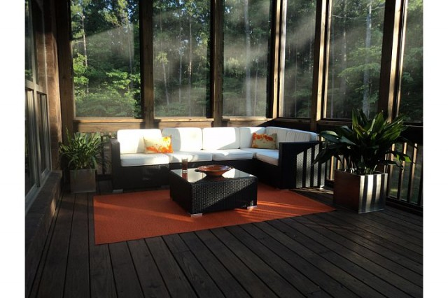 Orange contemporary patio