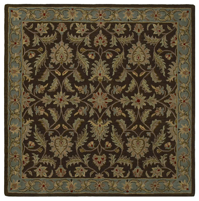 "Tara Squared St. Vincent 7'9"" Square Chocolate Rug traditional-rugs"