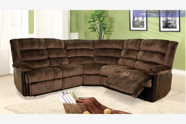 Chocolate Fabric Leather Dual Reclining Sectional Sofa Recliner Corner ...