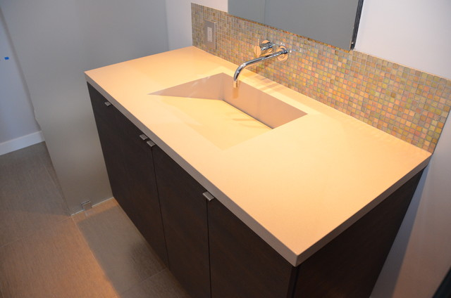 Quartz Integrated Sinks - Modern - Vanity Tops And Side ...