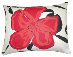 Red Hibiscus Pillow modern outdoor pillows