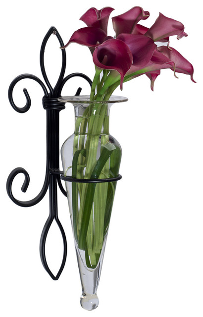 Wall Hanging Amphora Flower Vase Sconce on Fleur Lys Iron Stand, Clear - Contemporary - Vases ...