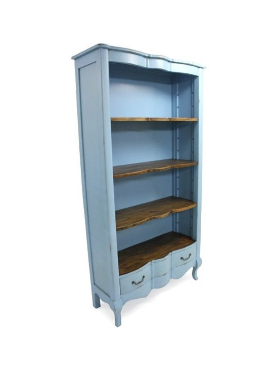 Chichi Furniture Exclusives. - A Charming rustic French farmhouse style open Bookcase. Featuring a storage draw to the bottom and three rustic shelves above. Finished in Teal Blue with light distressing throughout.