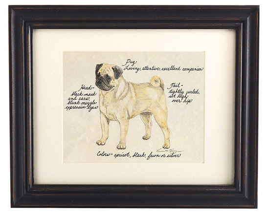 Ballard Designs - Pug Fawn Dog Print - Hand colored & signed. Printed on parchment. Eggshell mat. Antique black frame. Our Fawn Pug Dog Print was created by the dog-loving, husband and wife team of Vivienne and Sponge. The Fawn Pug is known for being loving, attentive and excellent companion. Each Pug portrait is hand colored and embellished with notes on the breed's special characteristics. Printed on antiqued parchment, signed by the artists and framed in antique black wood with eggshell mat and glass front. Fawn Pug Dog Print features: . . . . *Please note that personalized items are non-returnable.