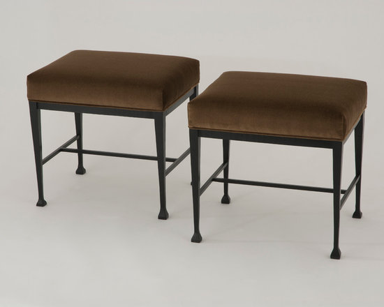 Blair Stools - Art | Harrison Collection - Stool features a subtly crimped and distressed metal frame with a satin black waxed finish and upholstered seat.
