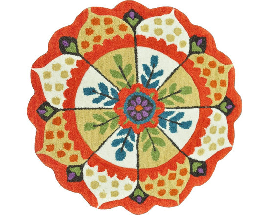 """Loloi Rugs - Loloi Rugs Azalea Collection - Red/Ivory, 3'-0"""" x 3'-0"""" Round - The Azalea Collection celebrates desirable round rugs in the most updated colors and patterns for today's fashionable interiors. Available in a broad range of styles, Azalea has a distinctive look that is achieved by its meticulously hand-tufted, wool construction. Made in India, the cut-and-loop textured rounds come in a varied palette that includes spring and fall hues, brights and everyday, familiar tones, too. These fresh rounds will add a dramatic wow-factor to any interior."""
