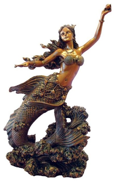 10 Inch Hand Painted Mermaid Holding Pearl Figurine, Bronze eclectic-statues-and-figurines