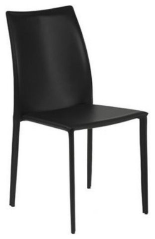 Euro Style Dalia Leather Stacking Dining Chair - Black - Set of 4 contemporary-dining-chairs