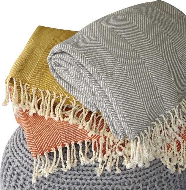Organic Herringbone Throw modern-throws