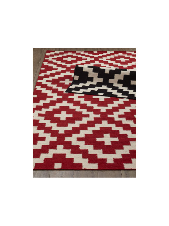 "Horchow - ""Aztec Chama"" Flatweave Rug - With a dramatic color palette that plays off a geometric pattern often found in paving stones, basket weaves, and nature, this fine flatweave rug suits modern and contemporary settings. Handwoven of wool. Select color when ordering. Sizes are approxi..."
