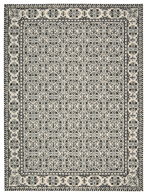 """Nourison Country Heritage H692 3'6"""" x 5'6"""" Black, White Rug traditional-rugs"""