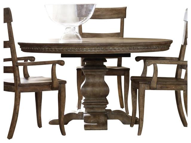 hooker furniture sorella round oval pedestal dining table with leaf farmhouse dining tables. Black Bedroom Furniture Sets. Home Design Ideas