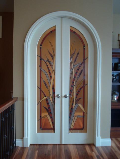 Interior decorative glass doors - Eclectic - Interior Doors - calgary - by Danziger Glass Studio Ltd