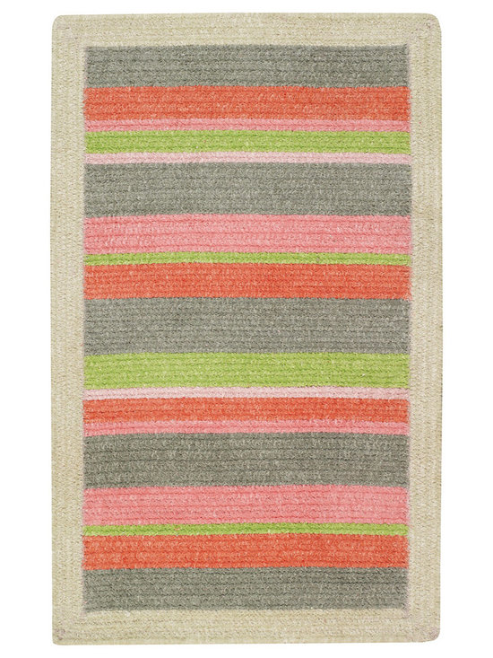 Candy rug in Bubble Gum - A sweet treat for your feet!  Fun, soft and colorful, braided in 100% cotton chenille, this rug features stripes of multiple colors and size. Our very own hand crafted braids are bordered by a solid pop of color. Reversible for twice the wear.