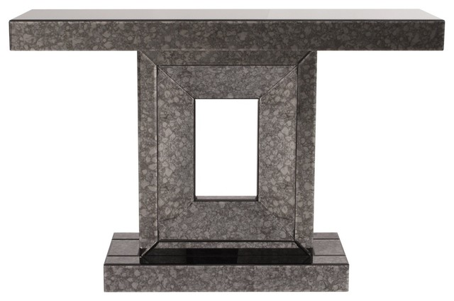 Atlas Grey Antique Mirrored Console Table - KD contemporary-console-tables