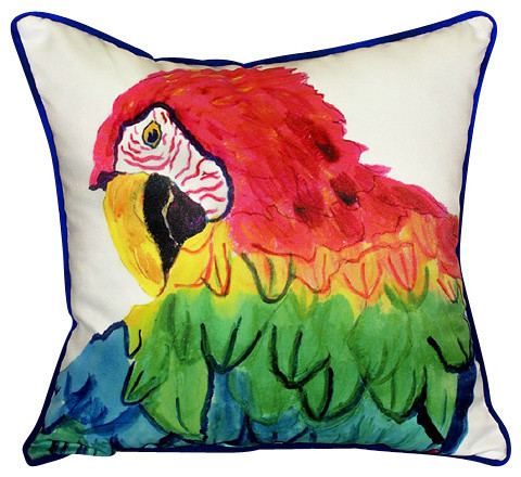 Betsy Drake Parrot Head Pillow- Indoor/Outdoor beach-style-outdoor-cushions-and-pillows