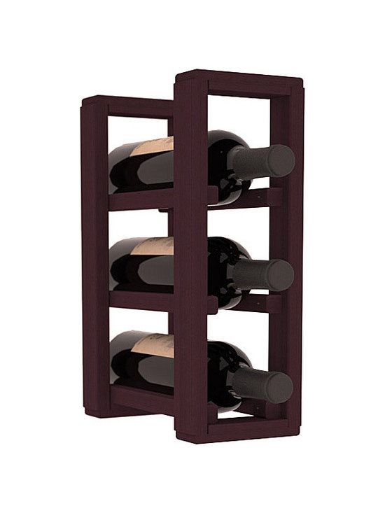 Wine Racks America® - 3 Bottle Counter Top/Pantry Wine Rack in Redwood, Burgundy Stain - These counter top wine racks are ideal for any pantry or kitchen setting.  These wine racks are also great for maximizing odd-sized/unused storage space.  They are available in furniture grade Ponderosa Pine, or Premium Redwood along with optional 6 stains and satin finish.  With 1-10 columns available, these racks will accommodate most any space!!